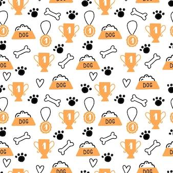 Naadloze patroon van schattige hond puppy symbool, speelgoed, poot, voetstap. cartoon grappig en gelukkig hond concept met eenvoudige vormstijl. illustratie voor achtergrond, behang, textiel, stof.