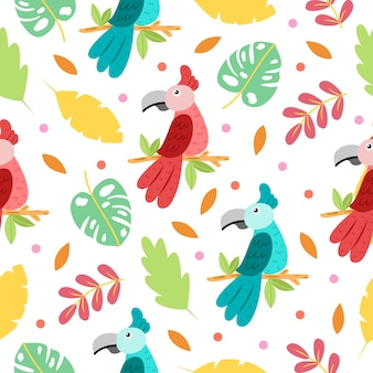 Naadloze patroon van schattige papegaai cartoon