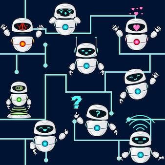 Naadloze patroon van schattige witte moderne zwevende robots uitvoeren verschillende taken platte vectorillustratie op donkere achtergrond.
