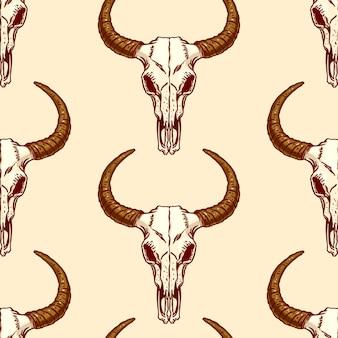 Naadloze patroon van schedels stier