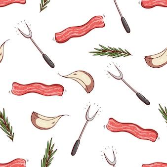 Naadloze patroon van spek, knoflook en kruiden