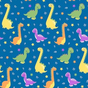 Naadloze patroon van veelkleurige dinosaurussen op blauwe achtergrond met sterren in de cartoon-stijl. voor textiel, ansichtkaarten, design.