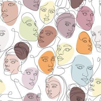 Naadloze patroon van vrouwelijke gezichten getekend met één doorlopende lijn. minimalistische abstracte portretten van mooie vrouwen. moderne mode-concept. schets op witte achtergrond