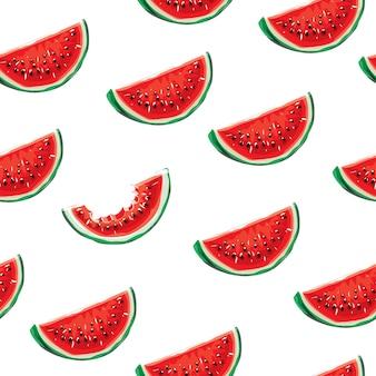 Naadloze patroon van watermeloen op een witte achtergrond. elementen voor ontwerp. sappig watermeloen zomerfruit. water fruit. marktfruit.