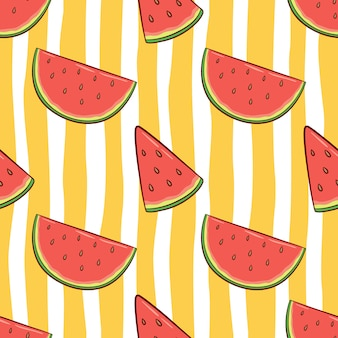 Naadloze patroon van watermeloen voor zomer concept met doodle stijl