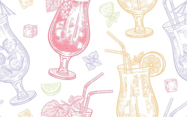 Naadloze patroon van wijn drinken.
