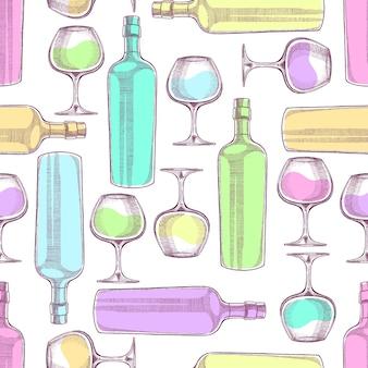 Naadloze patroon van wijnflessen en glazen