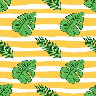Naadloze patroon van zomerbladeren met doodle stijl