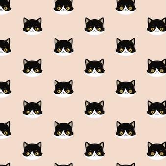 Naadloze patroon van zwarte koppen van katten.