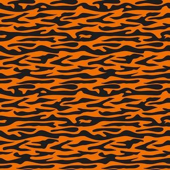 Naadloze patroon van zwarte strepen tijger op oranje achtergrond heldere print voor het vakantiesymbool van ...