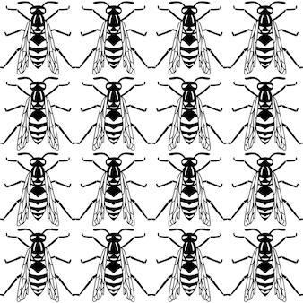 Naadloze patroon van zwarte wesp geïsoleerd op een witte achtergrond. vectorillustratie van wesp insect in eenvoudige lijnstijl.