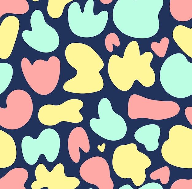 Naadloze patroon vector achtergrond met pastel gekleurde willekeurige organische vorm blobs op blauwe achtergrond. eenvoudige kinderen textuur.