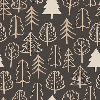Naadloze patroon vector doodle bomen handgetekende contour doodle bomen