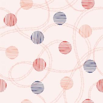 Naadloze patroon vector hand getrokken cirkel en polka dots met hand getrokken dubbele willekeurige lijn. ontwerp voor mode, stof, web en alle prints
