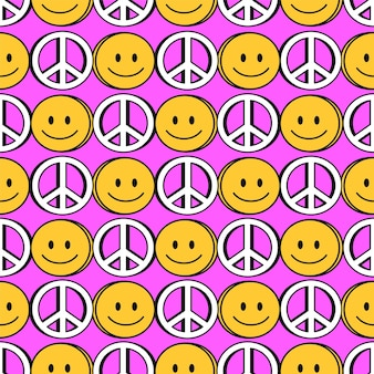 Naadloze patroon. vector hand getrokken doodle 90s stijl cartoon karakter illustratie. glimlachgezicht, vredessymboolprint voor t-shirt, poster, kaart naadloos patroonconcept