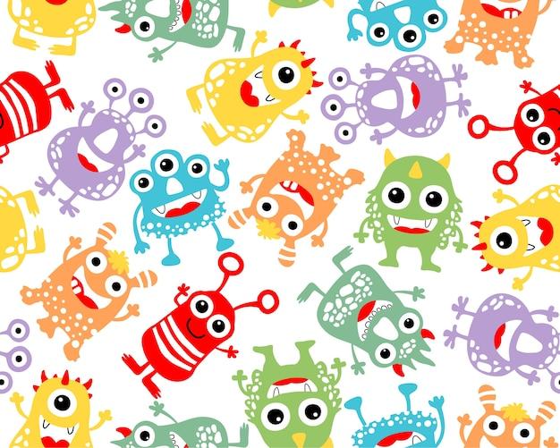 Naadloze patroon vector met kleurrijke monster cartoon