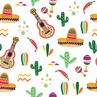 Naadloze patroon vector met mexico traditionele viering decor elementen gitaar sombrero maracas paprika cactus amp abstracte ornamenten geïsoleerd op een witte achtergrond goed voor verpakking wordt afgedrukt