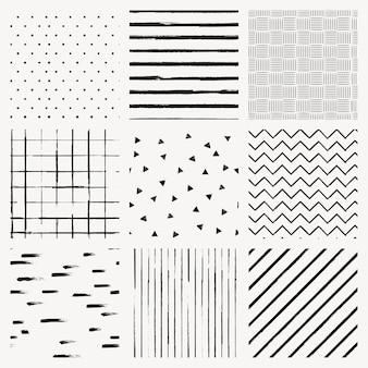 Naadloze patroon vector van inkt borstel getextureerde achtergrond set