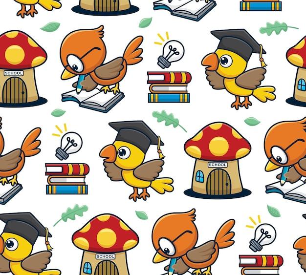 Naadloze patroon vector van vogels cartoon studeren met paddestoel huis, boeken, bol en bladeren