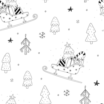 Naadloze patroon vectorillustratie gezellig rustiek vrolijk kerstpatroon