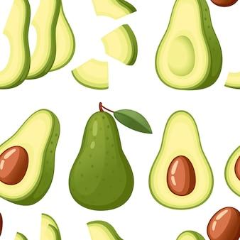 Naadloze patroon verse avocado en plakje avocado's hele illustratie