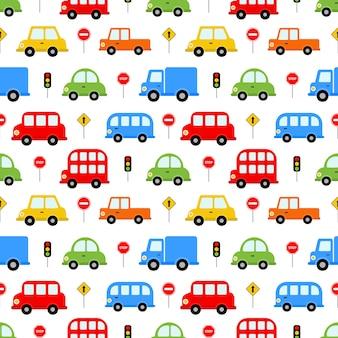 Naadloze patroon vervoer schattige auto
