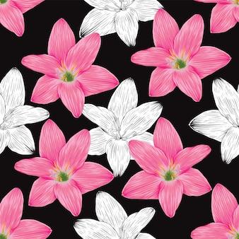 Naadloze patroon vintage achtergrond met hand tekenen bloemen lelie bloemen