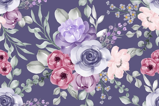 Naadloze patroon violet aquarel bloem Premium Vector