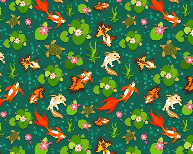 Naadloze patroon vis koi, goudvissen.