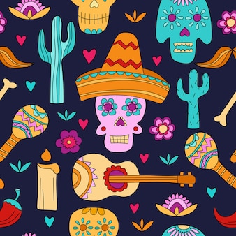 Naadloze patroon voor dia de los muertos en halloween. suikerschedels op donkerblauw