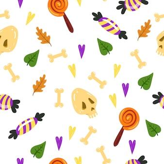 Naadloze patroon voor halloween. eindeloze textuur voor webpagina-achtergrond, inpakpapier, kaarten, uitnodigingen.