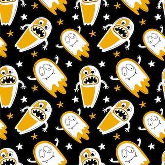 Naadloze patroon voor halloween. enge geesten met griezelige kaken en tanden vliegen in de nachtelijke hemel. hand getekend cartoon karakter schattig monster. ghost schaduw grappig. achtergrond voor halloween
