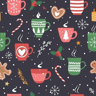 Naadloze patroon voor kerstvakantie met cacao chocolade beker.
