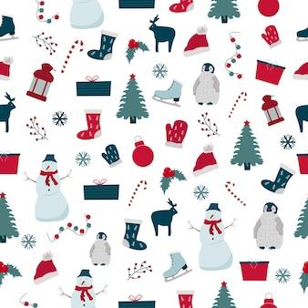 Naadloze patroon voor kerstvakantie. nieuwjaars- en wintersymbolen, verpakkingsontwerp.