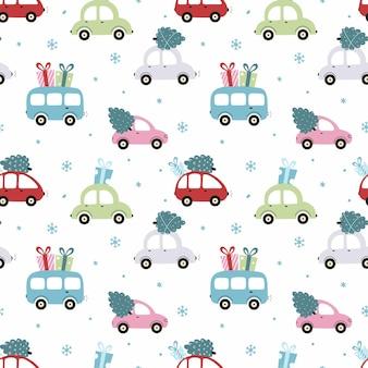 Naadloze patroon voor nieuwjaar met schattige auto. in auto is er een cadeau en een kerstboom voor vakanties. achtergrond voor het naaien van kinderkleding en het bedrukken van verpakkingspapier.