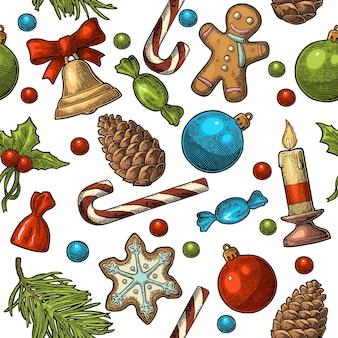 Naadloze patroon voor vrolijk kerstfeest gelukkig nieuwjaar pine candy candle cone toy vector gravure