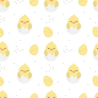 Naadloze patroon vrolijk pasen met gele kip en paaseieren