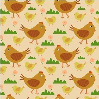 Naadloze patroon wandelende kip en kippen
