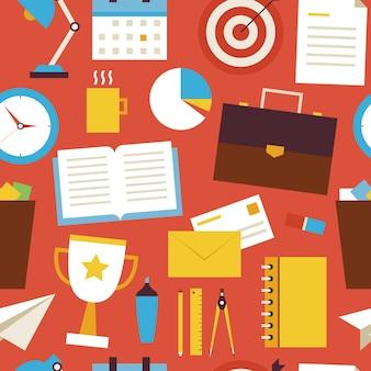 Naadloze patroon zakelijke en office-objecten over rood. vlakke stijl vector naadloze textuur achtergrond. verzameling van sjablonen voor wetenschap en onderwijs. terug naar school. succes en leiderschap. kantoorleven