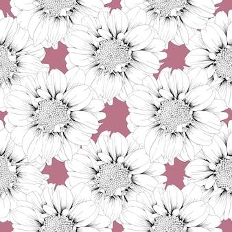 Naadloze patroon zinnia bloemen pastel abstracte achtergrond.