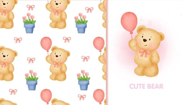 Naadloze patroon zoete teddybeer