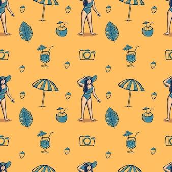 Naadloze patroon zomer geïllustreerd