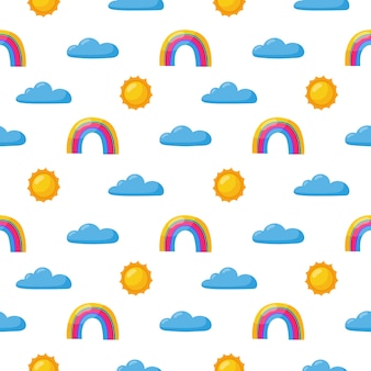 Naadloze patroon zon, regenboog en wolken. kawaii behang op wit. baby schattige pastelkleuren. grappige gezichten cartoon.