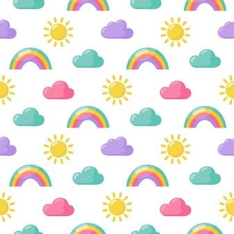 Naadloze patroon zon, regenboog en wolken.