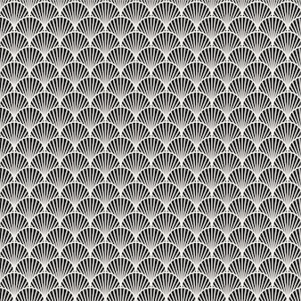 Naadloze patroon zwart-witte zee schelp