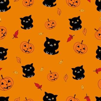 Naadloze patroon zwarte kat en pompoen in halloween