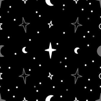 Naadloze patroon zwarte nachtelijke hemel, heldere sterren, vector herhalen mystieke illustratie op zwarte achtergrond
