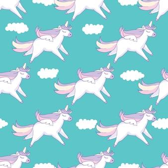 Naadloze patroonachtergrond. leuk varken als pegasus en eenhoorn met wolken.