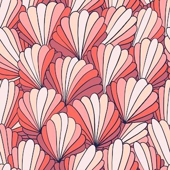 Naadloze patroonachtergrond met abstracte shell ornamenten