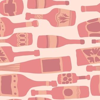 Naadloze patroonachtergrond met barflessen. hand getekende verschillende glazen flessen. vector illustratie